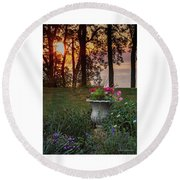 Sunset In The Flowers Round Beach Towel