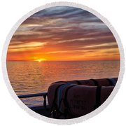 Sunset In The Gulf Round Beach Towel