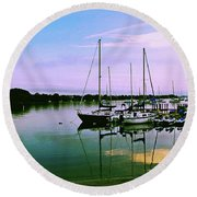 Sunset In The Harbor Round Beach Towel