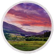 Sunset In The Meadow Round Beach Towel