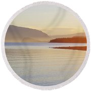 Sunset In The Mist Round Beach Towel