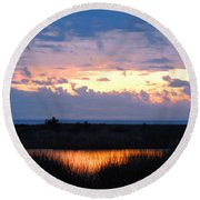Sunset In The River Sea Beyond Round Beach Towel by Expressionistart studio Priscilla Batzell