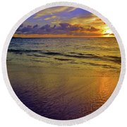 Round Beach Towel featuring the photograph Sunset In The Sand by Tara Turner
