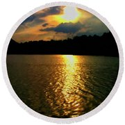 Round Beach Towel featuring the digital art Sunset In The Smoky Mountains 1 by Chris Flees
