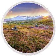 Sunset In Tundra Round Beach Towel