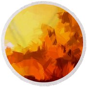 Sunset In Valhalla Round Beach Towel
