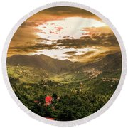 Sunset In Valley  Round Beach Towel