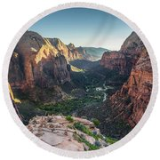 Sunset In Zion National Park Round Beach Towel by JR Photography