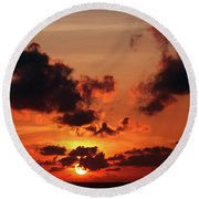 Round Beach Towel featuring the photograph Sunset Inspiration by Jenny Rainbow