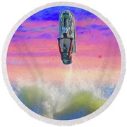 Sunset Jumper Round Beach Towel