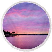 Sunset Lake Arlington Texas Round Beach Towel