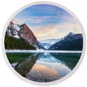 Sunset Lake Louise Round Beach Towel