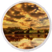 Sunset Lake Round Beach Towel