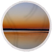 Round Beach Towel featuring the photograph Sunset Lake Texhoma by Diana Mary Sharpton