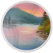 Sunset Lake Round Beach Towel by Thomas Janos