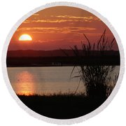 Sunset Lake II Round Beach Towel
