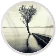 Sunset Landscape With A Tree In The Background Immersed In The L Round Beach Towel