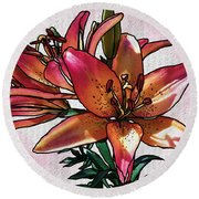 Sunset Lily Round Beach Towel