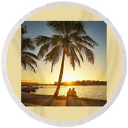 Round Beach Towel featuring the photograph Sunset Lovers Under Palm Tree And Down By The River by Keiran Lusk