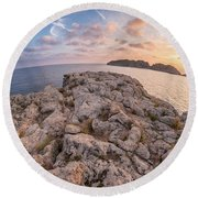 Sunset Malgrats Island Wide Angle Round Beach Towel