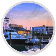 Round Beach Towel featuring the photograph Sunset Marina by Kathy Baccari