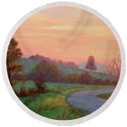 Sunset Meditation- In The Blue Ridge Mountains Round Beach Towel