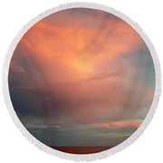 Sunset Moonrise Round Beach Towel
