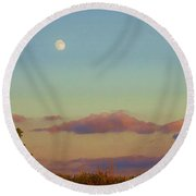 Sunset Moonrise With Windmill  Round Beach Towel