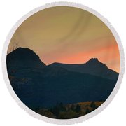 Sunset Mountain Silhouette Round Beach Towel