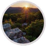 Sunset, Mt. Battie, Camden, Maine 33788-33791 Round Beach Towel by John Bald