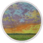 Sunset Near Miles City Round Beach Towel