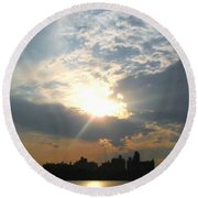 Sunset New York  Round Beach Towel