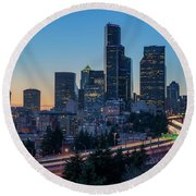 Sunset Night-freeway Lights Round Beach Towel