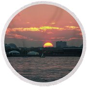 Sunset Nyc Harbor Round Beach Towel