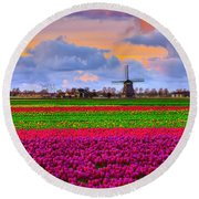 Sunset Of Colors Round Beach Towel