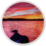 Sunset Of Fire Round Beach Towel