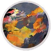 Round Beach Towel featuring the mixed media Sunset Of The Gods 4 by Lynda Lehmann