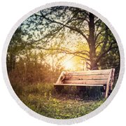 Sunset On A Wooden Bench Round Beach Towel