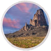 Sunset On Agathla Peak Round Beach Towel