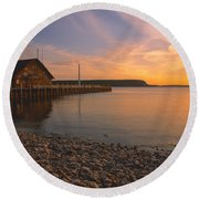 Sunset On Anderson's Dock - Door County Round Beach Towel