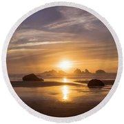 Sunset On Bandon Beach Round Beach Towel