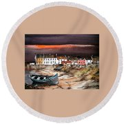 Sunset On Barna, Galway Round Beach Towel