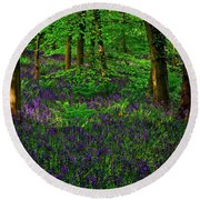 Sunset On Bluebells In Spring Round Beach Towel
