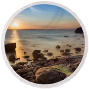 Round Beach Towel featuring the photograph Sunset On Boulder Beach by Robin-Lee Vieira