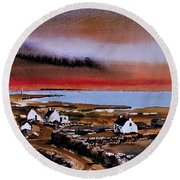 Sunset On Bungowla, Inishmor, Aran. Round Beach Towel