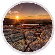 Sunset On Cadillac Mountain Round Beach Towel