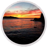 Sunset On Clayton Beach Round Beach Towel
