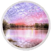 Sunset On Flint Creek Round Beach Towel