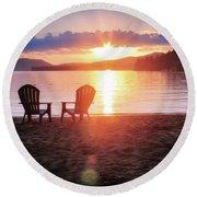 Sunset On Fourth Lake Round Beach Towel