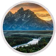 Sunset On Grand Teton And Snake River Round Beach Towel